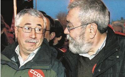 Los secretarios generales de CC.OO. y UGT, Ignacio Fernández Toxo y Cándido Méndez