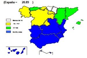 Tasa de paro por Comunidades Autónomas. Fuente: INE