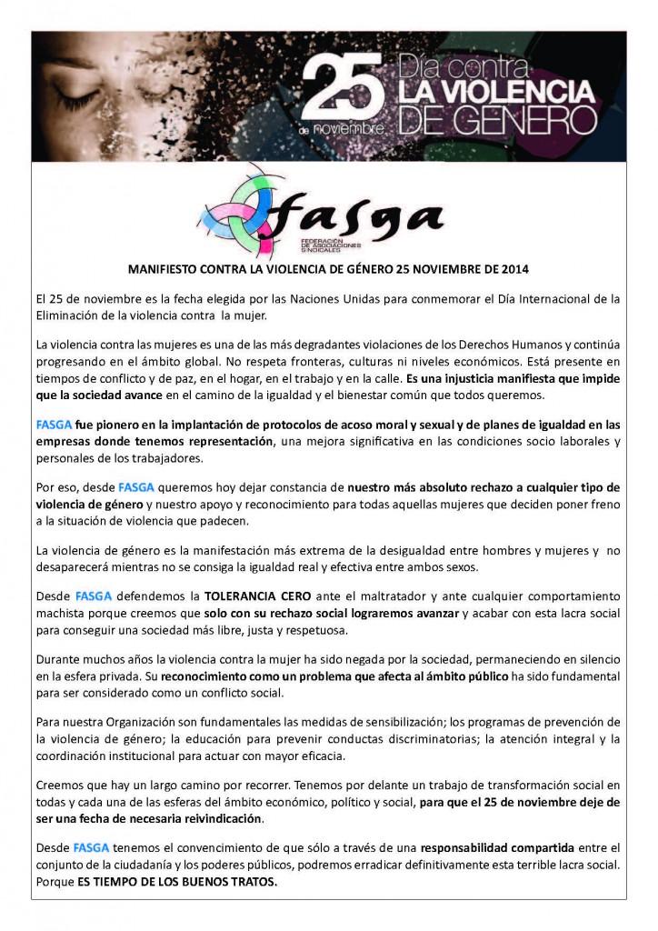 MANIFIESTO CONTRA LA VIOLENCIA DE GÉNERO 25 NOVIEMBRE DE 2014